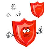 Cartoon protective red shield character Royalty Free Stock Photography