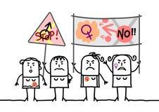 Cartoon Protesting Feminist Women. Vector Cartoon Protesting Feminist Women Stock Image