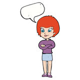 Cartoon proud woman with speech bubble Stock Images