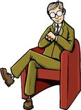 Cartoon psychiatrist sitting on his chair Royalty Free Stock Photography