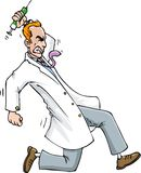 Cartoon of Psycho doctor running with a syringe Stock Image