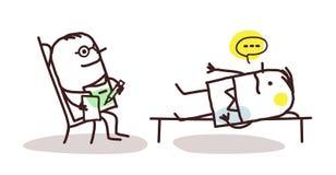 Cartoon psychoanalyst with patient Stock Photos