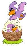 Cartoon pterodactyl mom and baby. Illustration Royalty Free Stock Photography