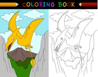 Cartoon pterosaurs coloring book. Illustration of Cartoon pterosaurs coloring book Royalty Free Stock Images