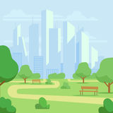 Cartoon public city park with skyscrapers cityscape vector illustration Royalty Free Stock Images