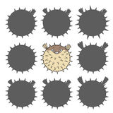 Cartoon puffer fish. Find the right shadow image. Educational games for kids. Cartoon puffer fish Stock Image