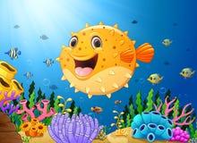 Cartoon puffer fish with sea life Stock Photo