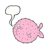 Cartoon puffer fish with speech bubble Royalty Free Stock Photos