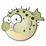 Cartoon pufferfish or blowfish. Illustration of funny cartoon pufferfish or blowfish, isolated on white background Royalty Free Stock Image