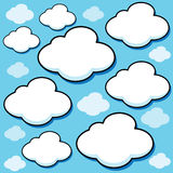 Cartoon Puffy Clouds. Illustrated set of puffy white cartoon clouds Royalty Free Stock Photos