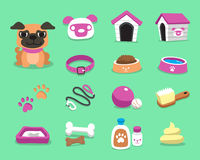 Cartoon pug dog and accessories set. For design Royalty Free Stock Images
