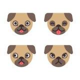 Cartoon pug faces vector illustration