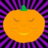 Cartoon pumpkin. A cartoon-like smiling pumpkin on a black and purple background vector illustration
