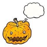 Cartoon pumpkin. Retro cartoon with texture. Isolated on White stock illustration