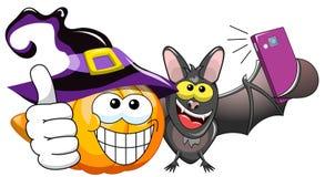 Cartoon pumpkin bat selfie Stock Photo