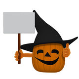 Cartoon pumpkin with a blank sign Royalty Free Stock Photography