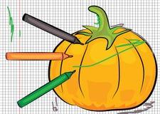 Cartoon pumpkin drawn on paper Stock Images