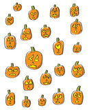 Cartoon Pumpkin Faces Stock Photos