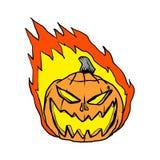 Cartoon pumpkin in flames Stock Image