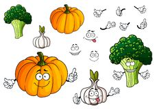 Cartoon pumpkin, garlic and broccoli vegetables Royalty Free Stock Images