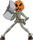 Cartoon pumpkin head with an axe Royalty Free Stock Image