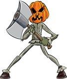 Cartoon pumpkin head with an axe. Isolated Royalty Free Stock Image