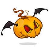 Cartoon pumpkin head with bat wings flying and screaming. Vector Halloween illustration  Stock Photography