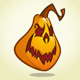 Cartoon pumpkin head with an evil expression on his face. Vector Halloween illustration  on white Stock Photography
