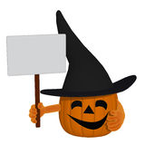 Cartoon pumpkin holding a blank sign Stock Image