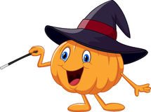Cartoon pumpkin holding magic wand Stock Photo