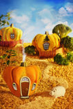 Cartoon pumpkin houses Stock Photos