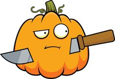 Cartoon Pumpkin and Knife Royalty Free Stock Photography