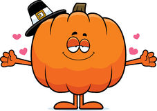Cartoon Pumpkin Pilgrim Hug Royalty Free Stock Photos