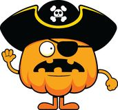 Cartoon Pumpkin Pirate Worried Stock Photography