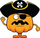 Cartoon Pumpkin Pirate Worried Stock Photography