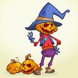 Cartoon pumpkin scarecrow. Halloween vector illustration of a happy scarecrow waving. Vector   on white Stock Photo