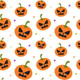 Cartoon pumpkin seamless pattern background illustration with star Royalty Free Stock Images