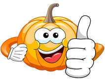 Cartoon pumpkin thumb up vector illustration