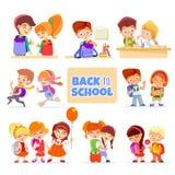 Cartoon pupils icon set  on white Royalty Free Stock Images