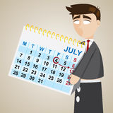 Cartoon puppet businessman showing weekend on calendar Stock Image