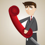 Cartoon puppet businessman with telephone Stock Photo