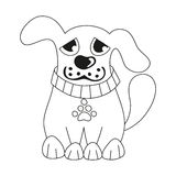 Cartoon puppy, coloring book page for children Stock Images