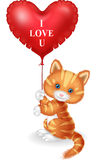 Cartoon puppy holding red heart balloon Royalty Free Stock Image