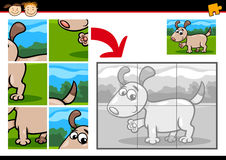 Cartoon puppy jigsaw puzzle game Royalty Free Stock Images