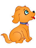 Cartoon Puppy Looking Up. Cute Cartoon Puppy Sitting and Looking Up royalty free illustration