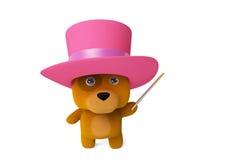 A cartoon puppy magician 3D rendering. A cartoon dog in a magic show , wearing a pink hat.3D rendering Stock Photos