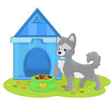 Cartoon puppy near a doghouse with a dog food. Dog kennel and cartoon puppy vector illustration