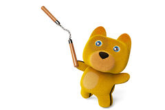 Cartoon puppy with nunchaku,Kung Fu Dog,3D rendering. Royalty Free Stock Photos