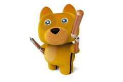 Cartoon puppy with nunchaku,Kung Fu Dog,3D rendering. Stock Photo