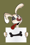 Cartoon puppy with sign Stock Image